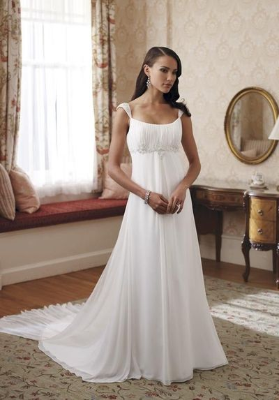 A-Line Scoop Floor Length Attached Chiffon Beading Wedding Dress