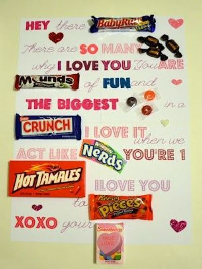 Candy Bar Letter cute for vday  valentine ideas  Juxtapost