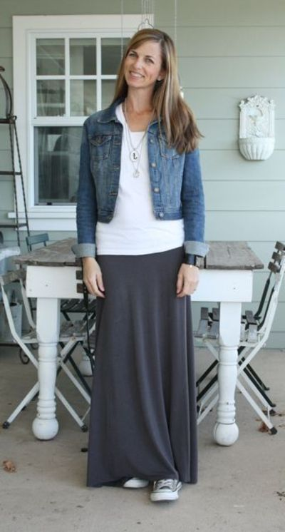 grey maxi skirt denim jacket what i wore wednesday a