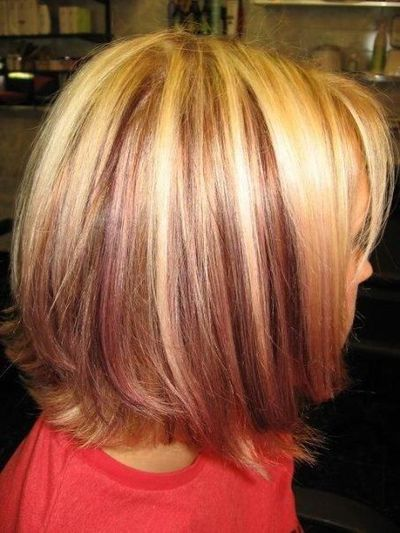 platinum highlights with red violet peek a boo low lights in... / hair ...