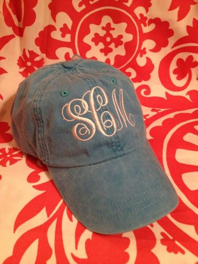 ec9b75f10ac Ladies Monogrammed Baseball Cap. Personalized. Your choice of thread hat  color. Embroidered