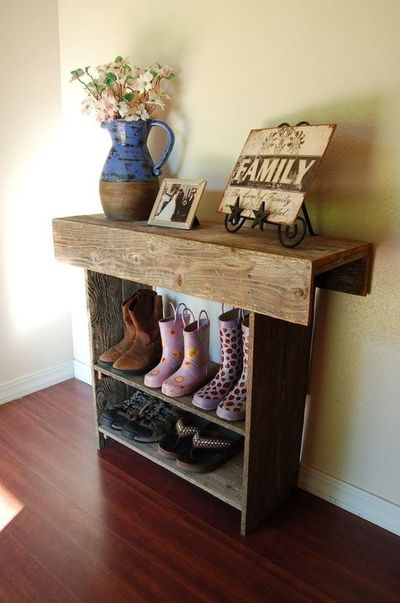 Entry Table With Storage console table. shoe storage. wood entry table farm house rec