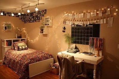 Cool College Dorm Lighting Using Christmas String Lights Attached To Photos. Part 19