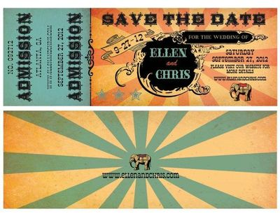 save the date ticket stub admission for a circus or