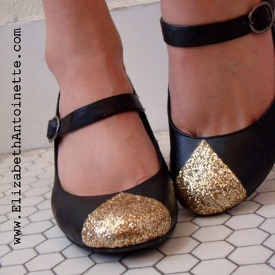 D.I.Y. golden-toe maryjane pumps. Here is a creative, and great way to make your shoes stand out. To create this project you will need some of the following supplies, Gloss Mod Podge, gold acrylic paint (might I suggest, using # 658 FolkArt metallic a...
