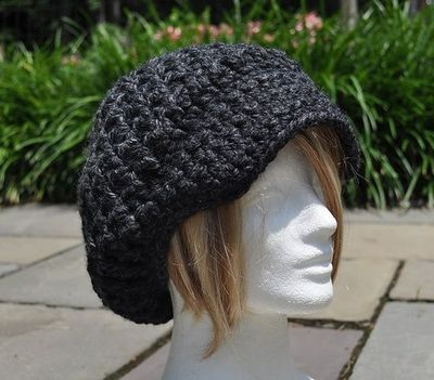 Ravelry  Crocheted Nubby Brimmed Newsboy Hat pattern by Eileen Tepper a885bab1aa8