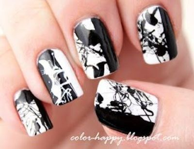 black splatter nails