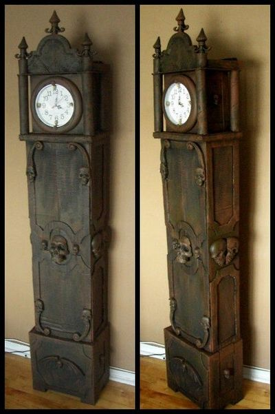 Halloween How To On Making A Grandfather Clock Out Of Cardbo