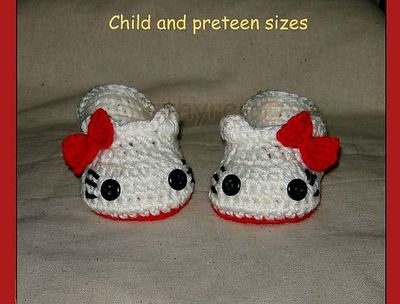 Crochet Hello Kitty Slippers House Shoes Sizes For Child P