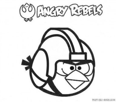 Free Printable Cartoon Angry Birds Star Wars Coloring Page For Kids