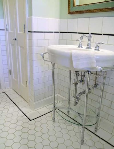 White Subway Tile Bathroom With Black Pencil Border