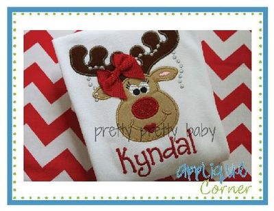 Girl Reindeer Reindeer Girl Pearls Applique