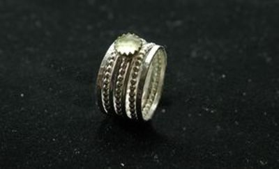 Natural Prehnite stackable birthstone rings in sterling silver
