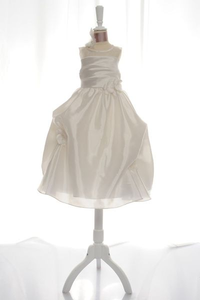 Straps with natural waist organza over satin dress for flower girl