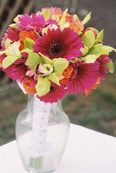 Gerber Daisy and Orchid Bridal Bouquet... love the colors