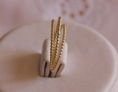 Set of 3 -14k solid yellow gold beaded DOTTED stack/stacking rings - wedding bands, anniversary band