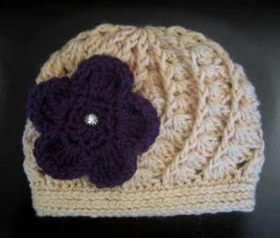 Crochet Hat Pattern Spiral Shell Rib Beanie With Flower Crochet