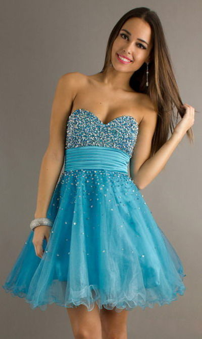 4ccb93e332 Color  Blue. Sparkly Blue Short Strapless Dress for Homecoming 2013 Capture  the spotlight at