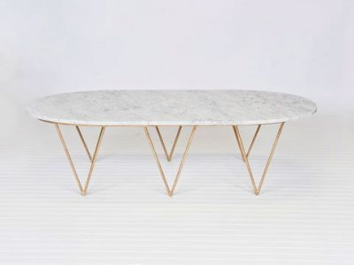Surf Gold Leaf Coffee Table- White Marble