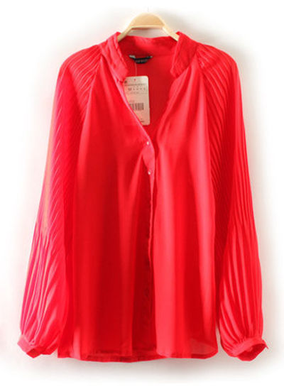 Red V Neck Pleated Long Sleeve Chiffon Blouse