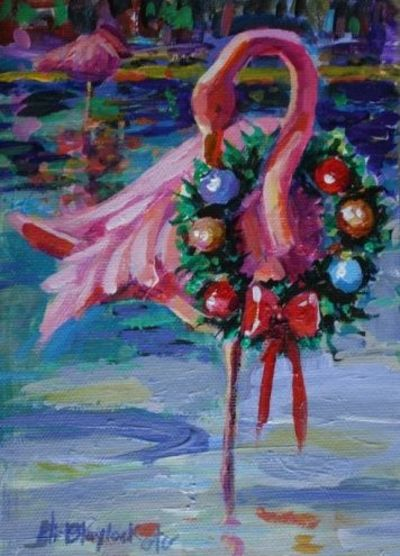 FLAMINGO CHRISTMAS Painting By Artist Elizabeth Blaylock Christmas Xmas Ideas