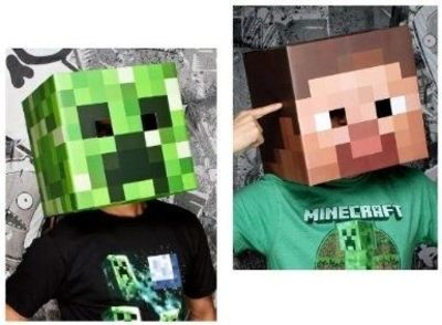 Find Template To Diy Minecraft 12 Steve Creeper Exclusive Head Costume Mask Set