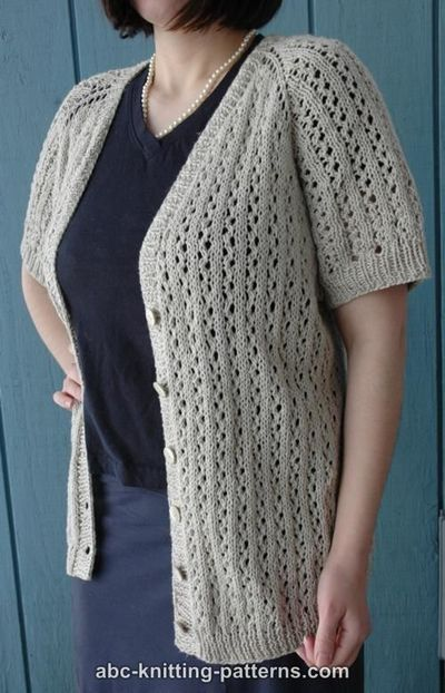 Knitting Pattern Raglan Cardigan : ABC Knitting Patterns - Top-Down Raglan Summer Lace Cardigan / knits and kits...