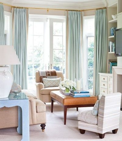 Floor to ceiling watery blue drapes house home for Curtains floor to ceiling windows