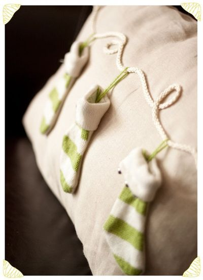 cute pottery barn pillow knockoff using stocking ornaments