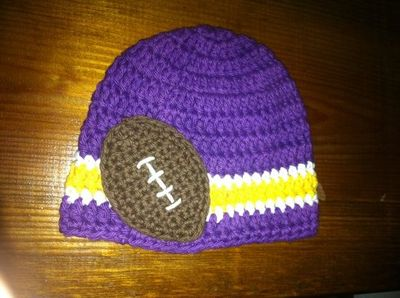 dfc238a64 ... reduced crocheted cotton hat inspired by minnesota vikings nfl colors  great photo prop. 17.99 64235