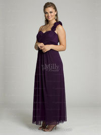 Empire Spaghetti Straps Chiffon Ankle-length Grape Flowers Evening Dresses