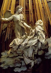 Bernini sure new how to work stone in to a frenzy of emotion (or ecstasy as it were).