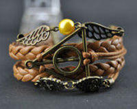 Wings and Golden Pear Braceletl, Deathly Hallows,Owls Bracelet,Antique Bronze Harry Potter Bracelet,Wax Cords & Leather Braid Bracelet-B1192