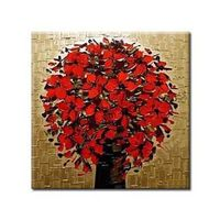 Blossoming Red Flowers Oil Painting Free Shipping