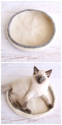 Crocheted Cat Bed - Dabbles & Babbles