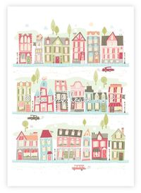 Nursery art print, baby girl, room decor, children's wall art, girl, illustration, pink, print, house, houses, village, map. $15.00, via Etsy.