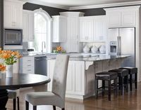 white cabinetry, charcoal walls