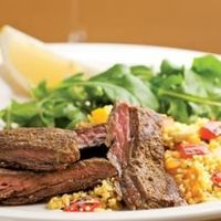 Moroccan Skirt Steak with Roasted Pepper Couscous Recipe