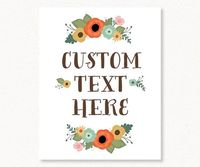 Custom Floral Poster Printable Design by OnewordDesigns on Etsy, $20.00