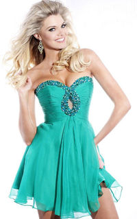 Teal Ruched Beading Cutout Strapless Sweetheart Short Dress