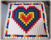 Technicolor Crochet Heart Quilt