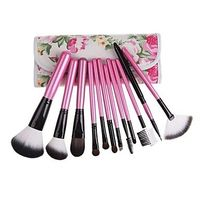 12PCS Pink Handle Cosmetic Brush Set With Free Floral Pink Pouch