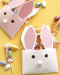 Envelope Bunnies How-To ~ One great way to say happy Easter is with paper-envelope rabbits bearing treats