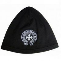 Black Chrome Hearts Knit White Horseshoes Embroidered Cap