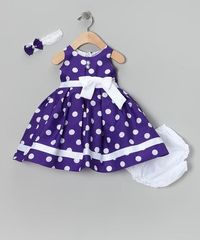 Take a look at this Purple Giant Polka Dot Dress Set - Infant by Shanil on #zulily today!