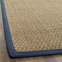 Hand-woven Sisal Natural/ Blue Seagrass Rug (6' x 9')   Overstock.com