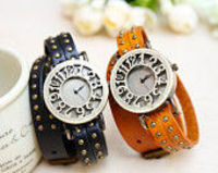 6 Colors,rivet double wrap leather wrist watch,wrist watch for boys and girls,hanmade watch bracelet,vintage w