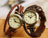 Braid Leather watch, bracelet watch, vintage style jewelry wrist watch,handmade charm watch, leather wrist w