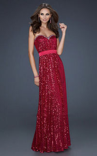 Sweetheart Neck Fuchsia Floor Length La Femme 17059 Homecoming Dress
