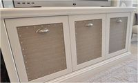 media cabinet with fabric panels
